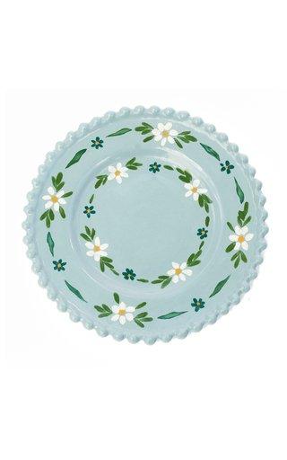 Handpainted Blue Daisy Dessert Plate