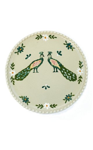 Handpainted Ivory Peacocks Dinner Plate