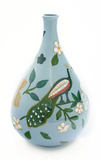 Handpainted Peacock Vase