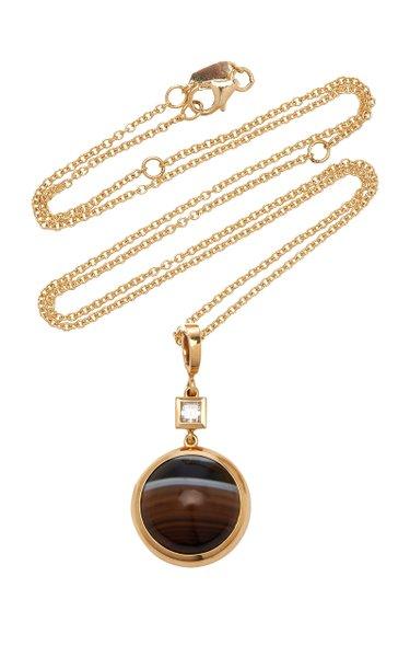 Horizon 18K Yellow Gold Agate, Diamond Necklace