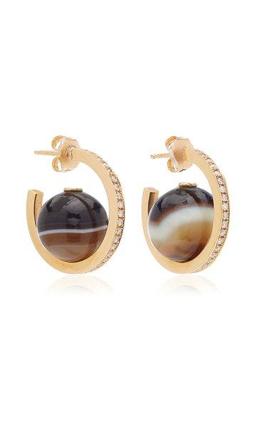 Horizon 18K Yellow Gold Agate, Diamond Earrings