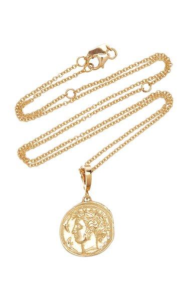 Goddess Small 18K Yellow Gold Diamond Coin Necklace