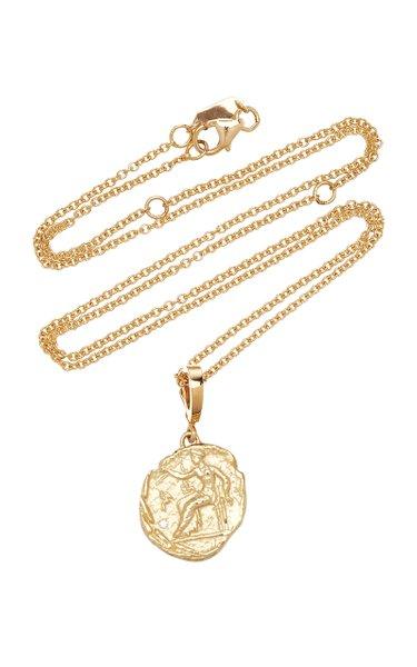 Aphrodite Small 18K Yellow Gold Diamond Coin Necklace