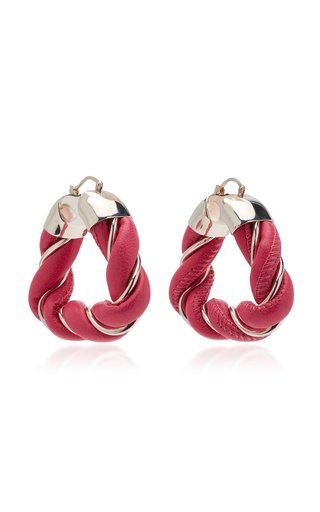 Triangle Leather-Trimmed Sterling Silver Hoop Earrings