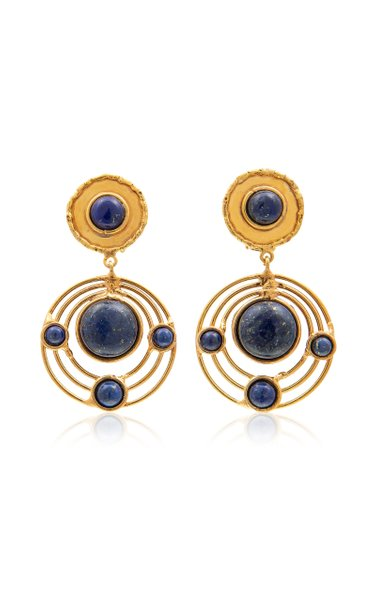Ellipse Lapis 22K Gold-Plated Earrings