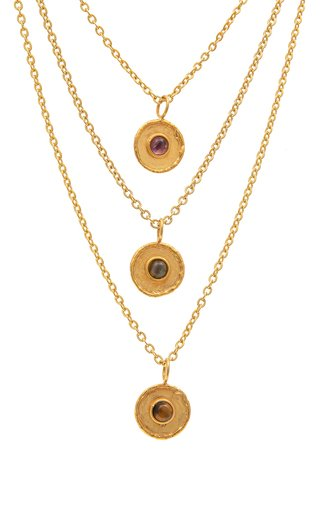XXL Medaille 22K Gold-Plated Multi-Stone Necklace