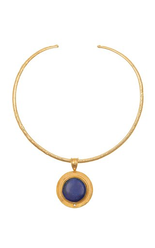 Theodora Lapis 22K Gold-Plated Necklace
