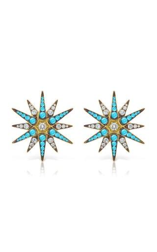 18K Gold Diamond & Turquoise Starburst Earrings