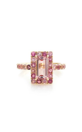 Bubble Gum Deco 18K Gold Pink Tourmaline Ring