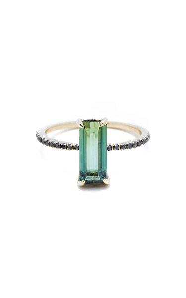 18K Gold, Green Tourmaline And Black Diamond Ring