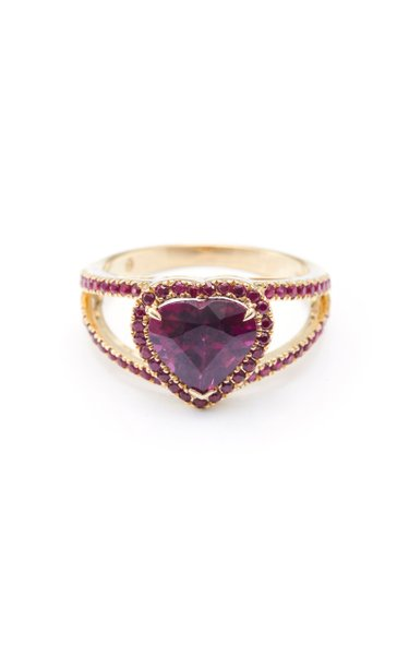 18K Gold Rhodolite And Ruby Ring