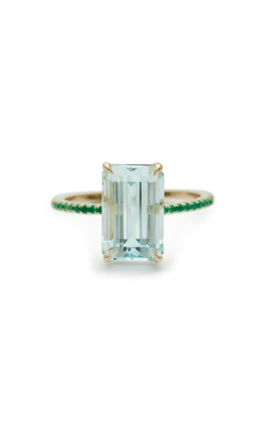 18K Gold, Aquamarine And Emerald Ring