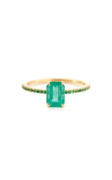 18K Gold Emerald Spring Ring