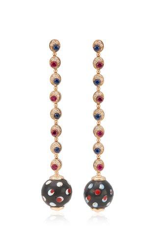 Pois Pois 18K Rose Gold Diamond, Ruby, Sapphire Earrings