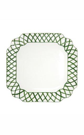 Ceramic Trellis Square Platter Green