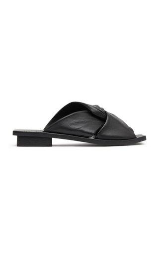 Twist Leather Slides