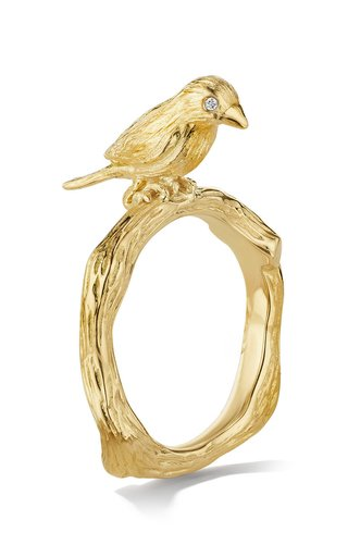 Wonderland Lovebird 18K Gold And Diamond Ring