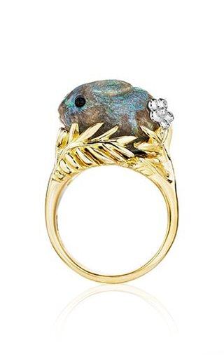 Wonderland Green Andamooka Opal Bunny Ring