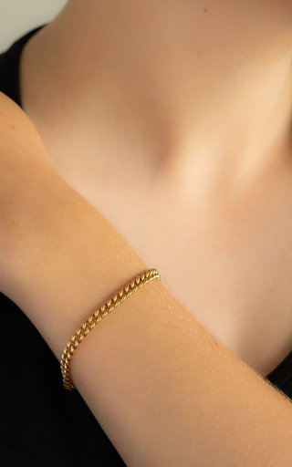 14K Yellow Gold Solid Curb Chain Bracelet