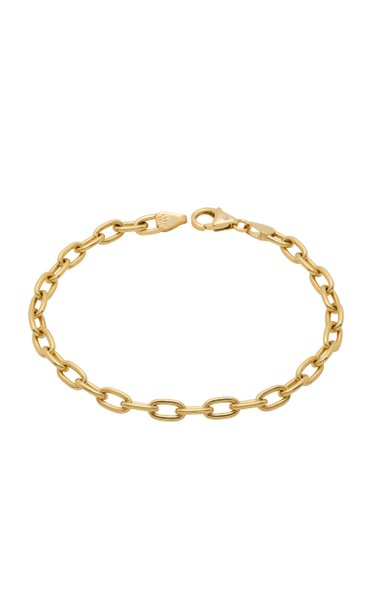 14K Yellow Gold Solid Oval Chain Bracelet