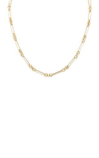 14K Yellow Gold Trombone Chain Necklace