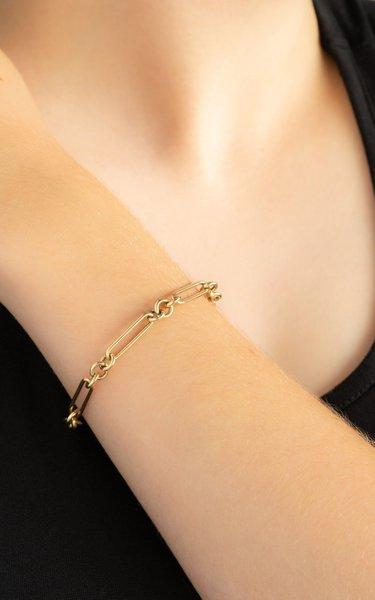 14K Yellow Gold Trombone Chain Bracelet