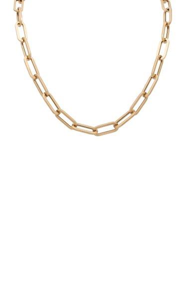 14K Yellow Gold Jumbo Rectangle Necklace