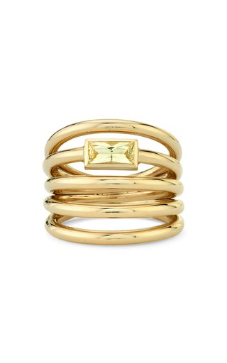 18K Yellow Gold Helics Sapphire Ring