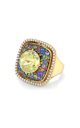 18K Yellow Gold One of a Kind Tutti Frutti Ring