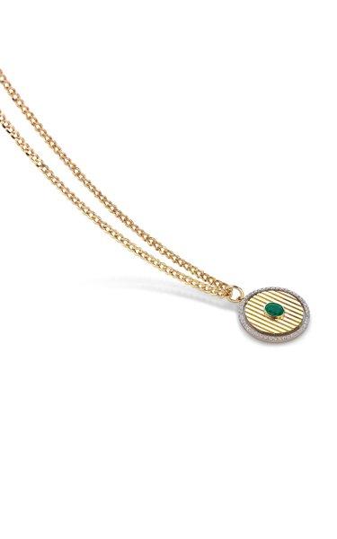 Mini Orb 14K Yellow Gold Emerald, Diamond Necklace