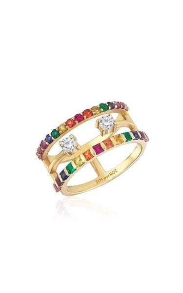 Triple Band 14K Yellow Gold Multi-Stone Ring