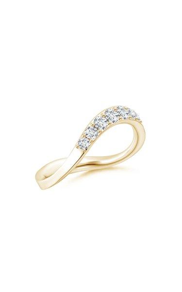 Brushstroke 14K Yellow Gold Diamond Ring