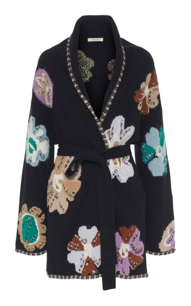 Delicate Florals Jacquard-Knit Wool-Blend Cardigan