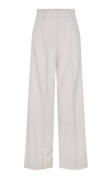Refreshing Ambition Pleated Crepe Wide-Leg Trousers