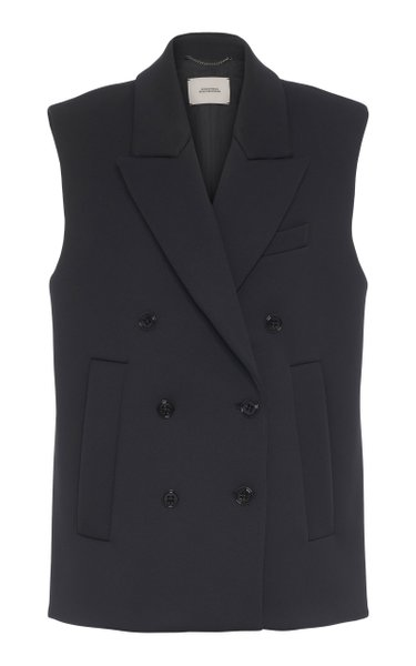Soft Perfection Double-Breasted Crepe Vest