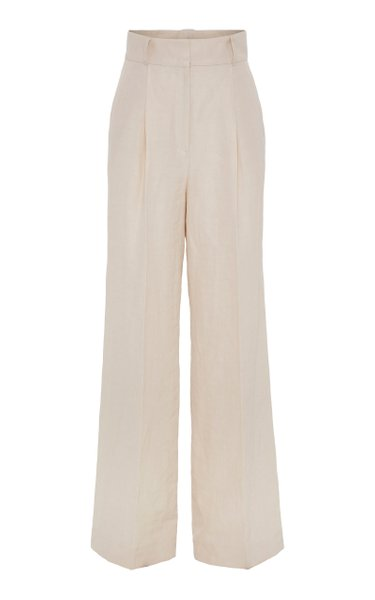 Summer Cruise Pleated Crepe Wide-Leg Trousers