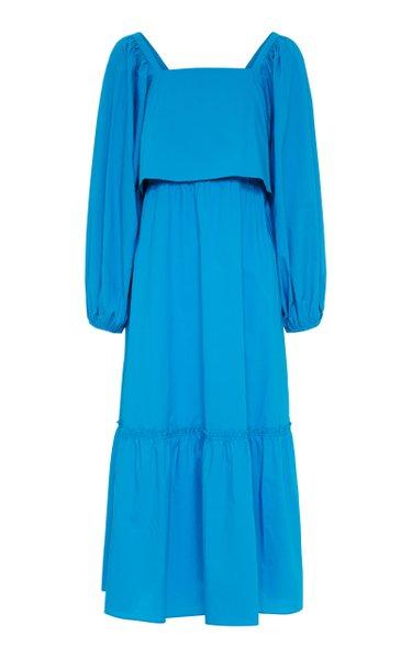 Poplin Power Ii Tiered Cotton Midi Dress