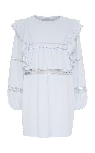 Lace Lines Crochet-Trimmed Ruffled Cotton Mini Dress