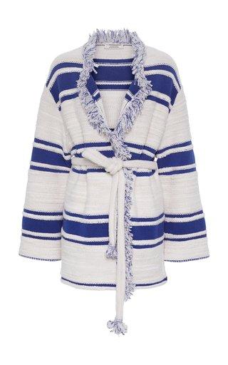 Striped Sensation Fringed Wool-Blend Cardigan