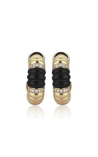 Terra 14K Yellow Gold Diamond, Onyx Earrings