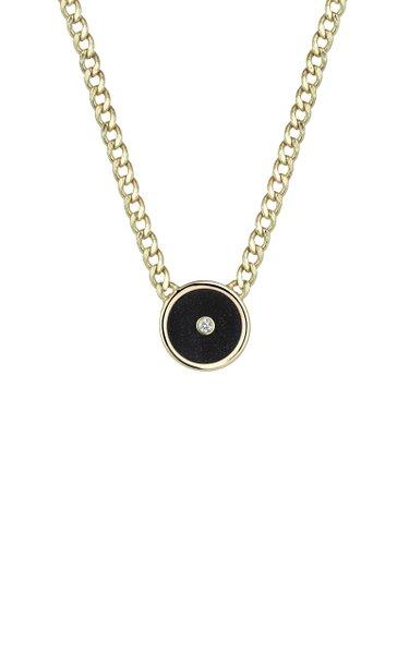 14K Yellow Gold Diamond, Onyx Necklace
