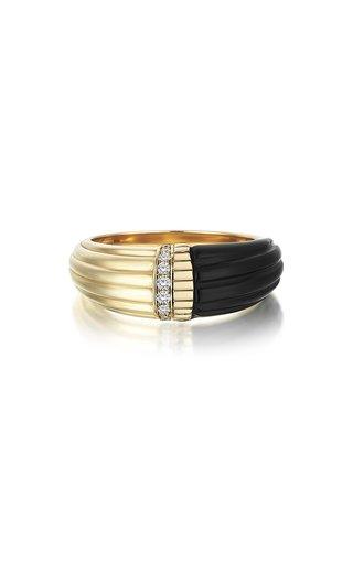 Dune 14K Yellow Gold Onyx, Diamond Ring