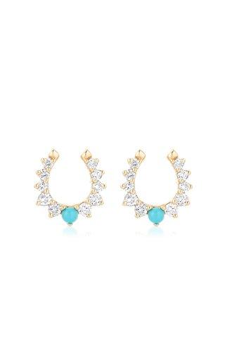 Horseshoe 14K Yellow Gold Turquoise, Diamond Earrings