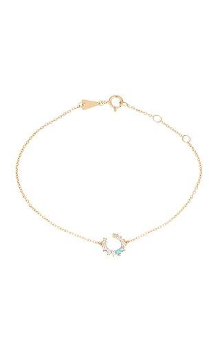 Horseshoe 14K Yellow Gold Turquoise, Diamond Bracelet