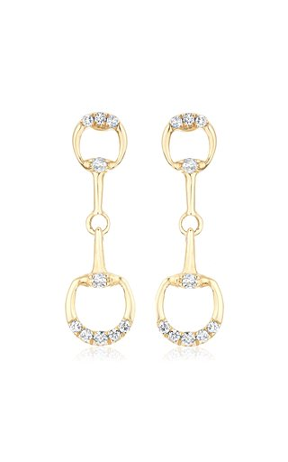 Horsebit 14K Yellow Gold Diamond Earrings