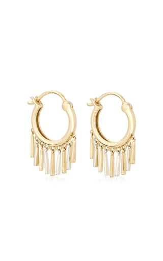 Fringe 14K Yellow Gold and Sterling Silver Huggie Earrings