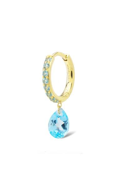 18K Yellow Gold Blue Topaz Earring