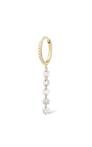 18K Yellow Gold Pave 5 Diamonds Earring