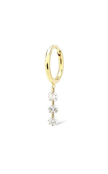 18K Yellow Gold 3 Diamonds Earring