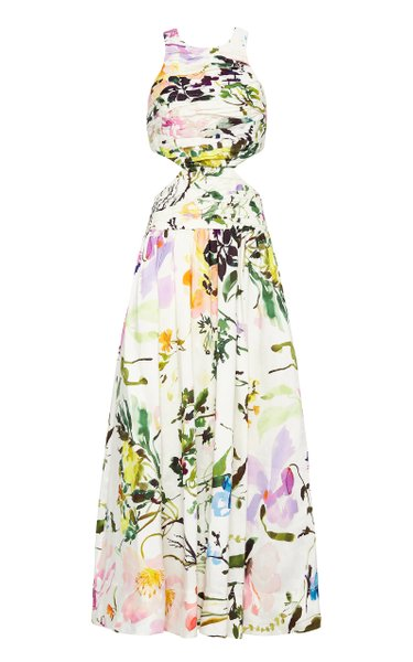 Introspect Floral-Print Linen-Blend Midi Dress